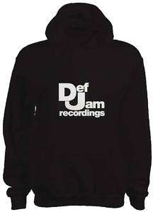 MENS DEF JAM HIP HOP HOODIE BLACK WHITE RAP OLD SCHOOL