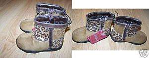 Infant Size 5 Brown Cheetah Leopard Print Boots New Zip
