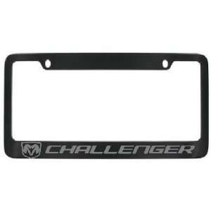 Dodge Challenger Black Metal Frame with Silver Lettering   2 free caps