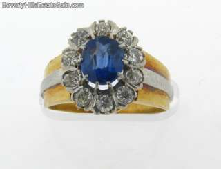 Antique Art Deco Plat 18K Diamond Natural Sapphire Ring