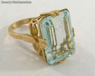 Extraordinary 11C Gem Quality Aquamarine Art Deco 18k Yellow Gold Ring