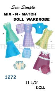 1272 Sew Simple Mix n match Barbie doll Pattern 11 1/2