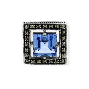 925 Sterling Silver Blue Glass & Marcasite Pendant Jewelry