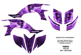 YAMAHA YFZ 450 Atv Graphic Decal Sticker Kit #6666 Purple Skull