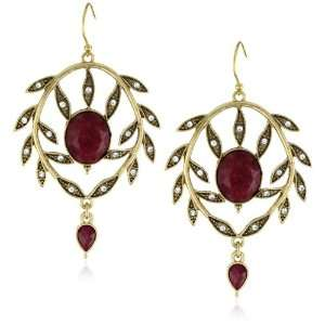 Lucky Brand Siam Ruby Gold Tone Pave Leaf Chandelier Earrings