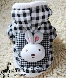 Rabbit inside Warm Fleece DOG Clothes Lattice hoodie COAT XS,S,M,L,XL