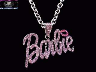 Nicki Minaj 2 BARBIE Iced Out Necklace Silver PINK