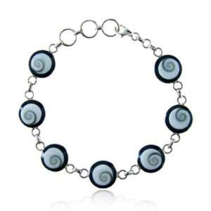 Eyes Swirl Shell Inlay Chain Link Women Bracelet with Lobster Clasp