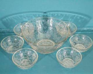 Princess House FANTASIA Large SALAD Bowl + 6 SERVING Bowls