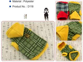 Dog & Cat Clothes Warm Hoodie Shirts,Pet Apparel Check Pattern Coats