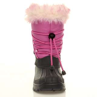 GIRLS KIDS WARM FUR LINING WINTER SNOW SKI MOON VELCRO MUCKER CALF