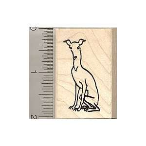 Whippet Dog Rubber Stamp   Wood Mounted