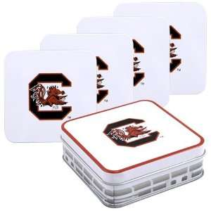 South Carolina Gamecocks White 4 Tin and Coaster Set