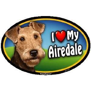 Oval Car Magnet   I Love My Airedale