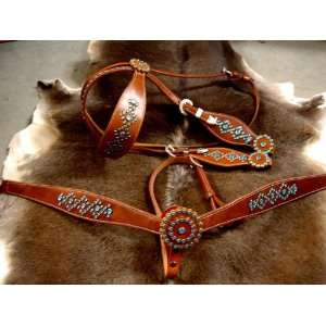 COLLAR WESTERN LEATHER HEADSTALL WITH BLUE BLING