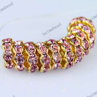 Wholesale Colorful Crystal Golden Spacer Loose Bead Jewelry Findings