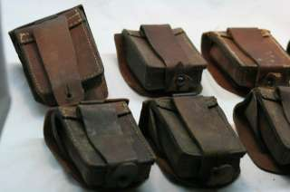 VINTAGE WWI WWII GERMAN ARMY LEATHER AMMUNITION AMMO POUCH LOT of {8