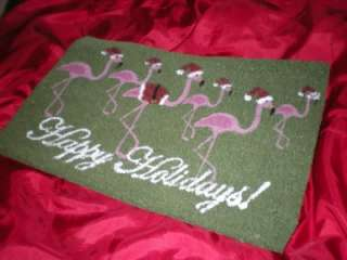 TROPICAL PINK FLOCK of 6 CHRISTMAS FLAMINGOS HAPPY HOLIDAYS COIR