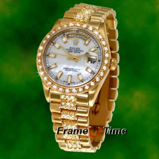 Rolex Mens President Gold Diamond Band Day Date Watch