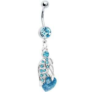 Blue Gem Heaven Angelic Heart Belly Ring Jewelry