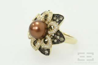 Carlo Viani 14K Yellow Gold Tahitian Brown Pearl & Diamond Ring Size 7