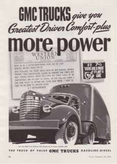 1941 GMC Trucks Semi & Trailer Art vintage print ad