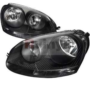 Volkswagen Jetta 2005 2006 2007 2008 2009 2010 Euro Headlights   Black