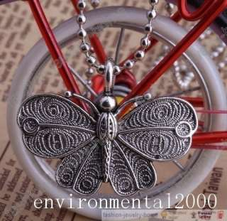 Retro Style Silver Bronze Beautiful Butterfly Pendant Chain Necklace