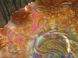 PEACOCK URN MARIGOLD Carnival Glass Bowl UNSIGNED IRIDESCENT ART