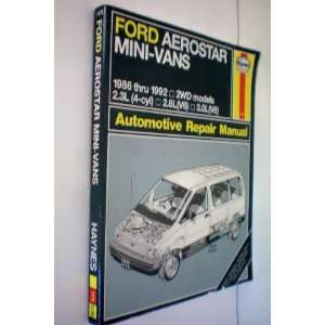 Ford Aerostar Mini Vans 1986 thru 1992    2WD Models    2