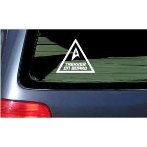 Trekker On Board Vinyl Decal   Star Trek Fan White Window