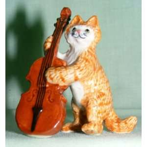 KLIMA Ginger CAT Tabby plays DBL BASS Cello Porcelain #4