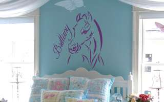 Custom Name Text Horse Vinyl Wall Art Sticker Decal