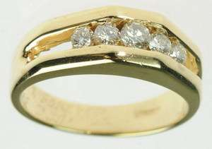 MENS 14K SOLID YELLOW GOLD ROUND DIAMOND WEDDING BAND ESTATE RING