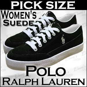 POLO Ralph Lauren Black Suede Sneaker Shoe Women PickSz