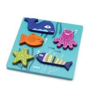 Djeco Wooden lift out puzzle   Sea Animals Baby