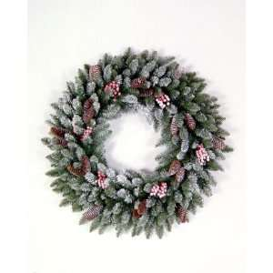 Tree Company DUF3 10 24W 24 Inch Dunhill Fir Wreath with Snow, Red