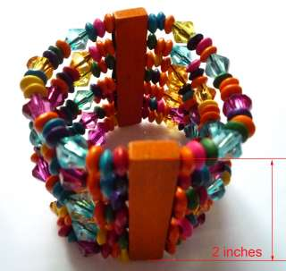 Multi Color Beads Wood Wooden Stretch Bracelet Bangle