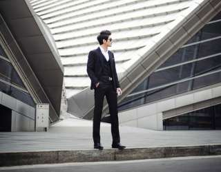 fashion Full dress Casual/Business Black Slim fit Suit jacket