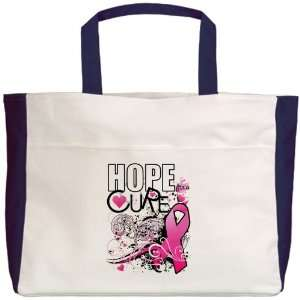 Beach Tote Navy Cancer Hope for a Cure   Pink Ribbon