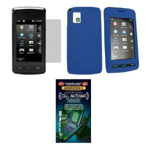 Solid Blue Silicone Gel Skin Cover Case + Screen Protector