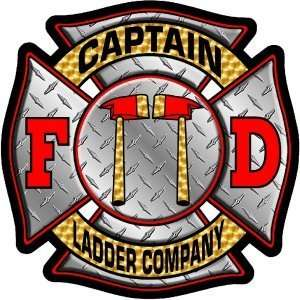 Firefighter Decal/Sticker   4x4 Diamond Plate Captain Ladder Company