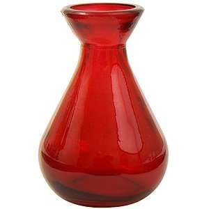 4 1/4 Glass Red Teardrop Vase, Small, Short, Medium