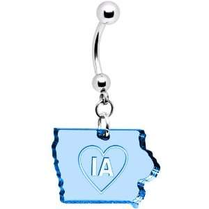 Light Blue State of Iowa Belly Ring Jewelry