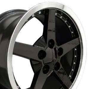 C6 Deep Dish Wheel with Rivets Machined Lip Fits Corvette   Black 17x9