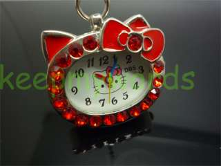 Hello Kitty Red Crystal Pocket Pendant Necklace Watch & Pink Gift Box