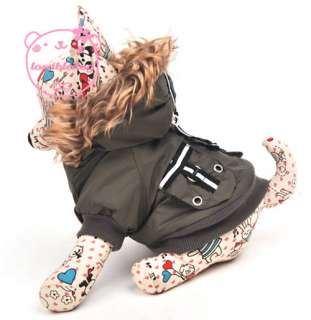 Thick Padded Coat Hoodie Jacket Dog Clothes Apparel 5 Size