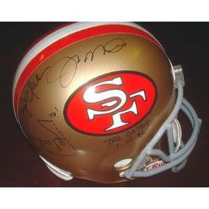 Joe Montana Signed Helmet   Dwight Clark THE CATCH