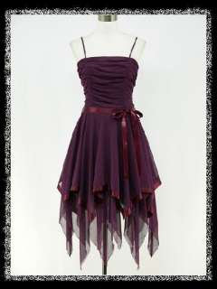 PURPLE CHIFFON 50s PROM PARTY FASHION COCKTAIL EVENING GOWN DRESS 8 16