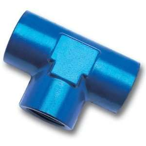 Edelbrock/Russell 661740 Blue Anodized Aluminum 1/2 Female Pipe Tee